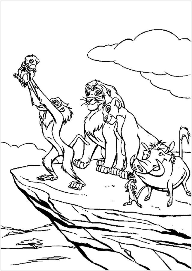 Rafiki baptizes Simba - The Lion King Kids Coloring Pages