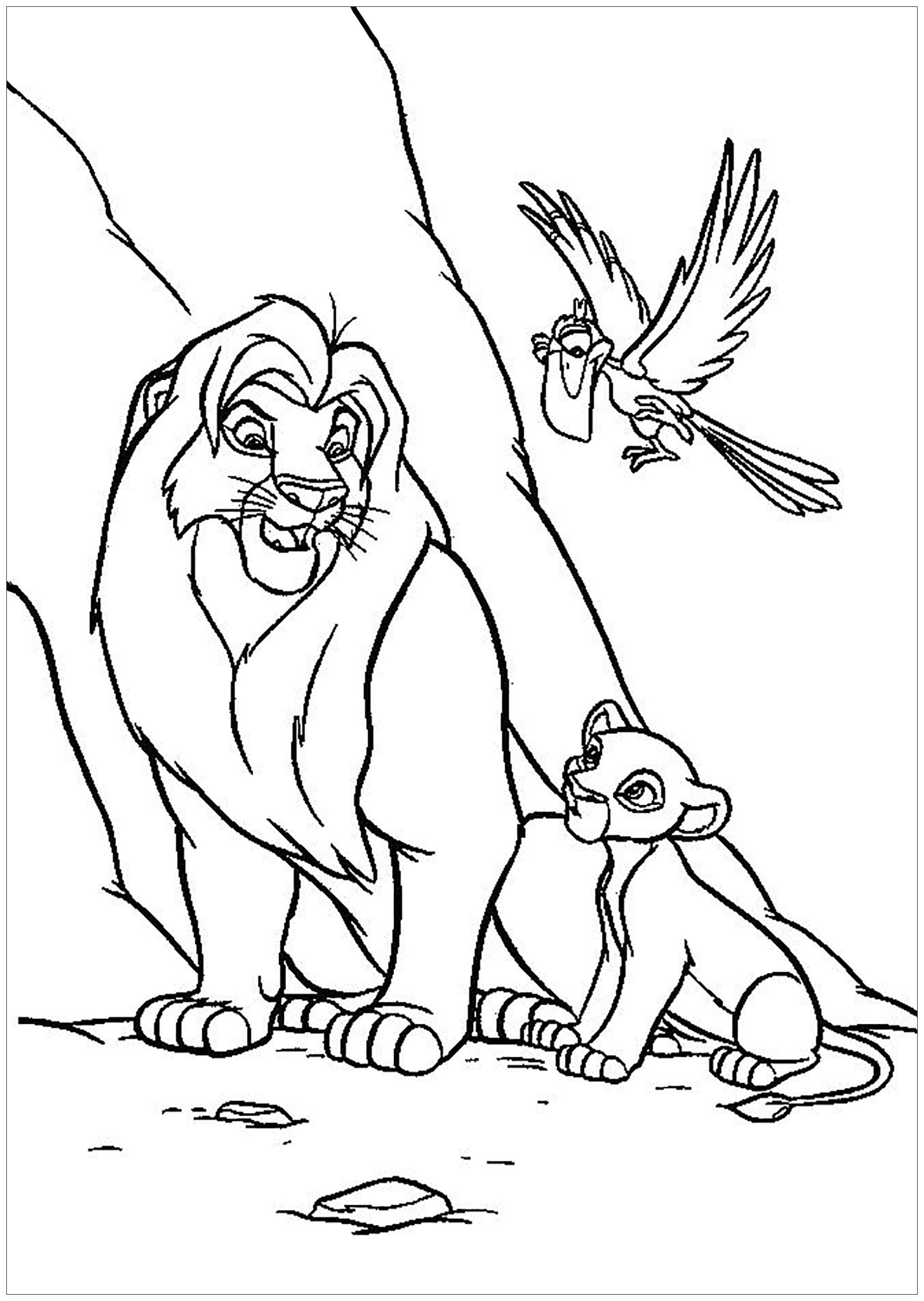 Lion King Coloring Page With Mufasa Simba And Zazu