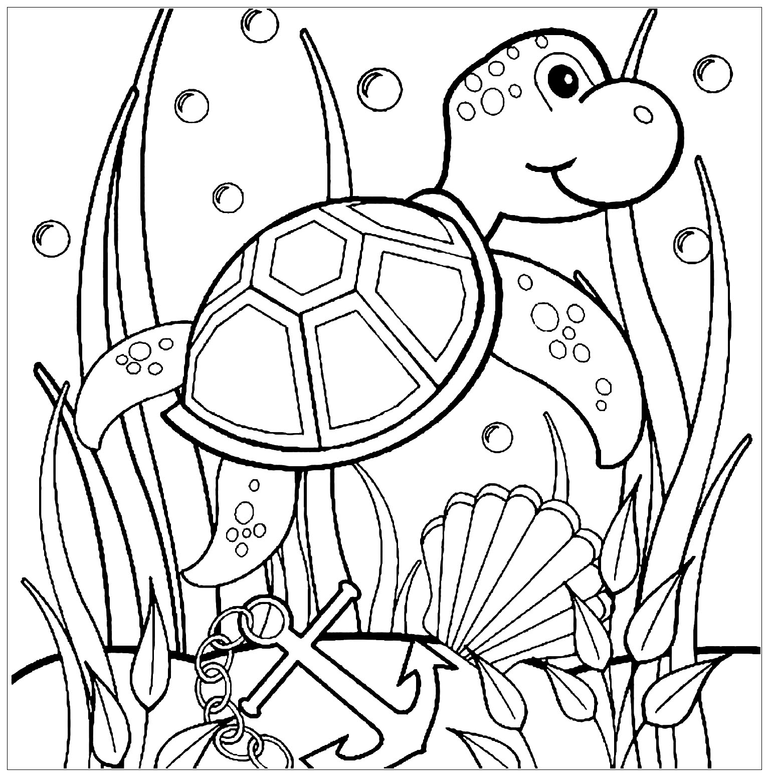 Turtles Free To Color For Children
