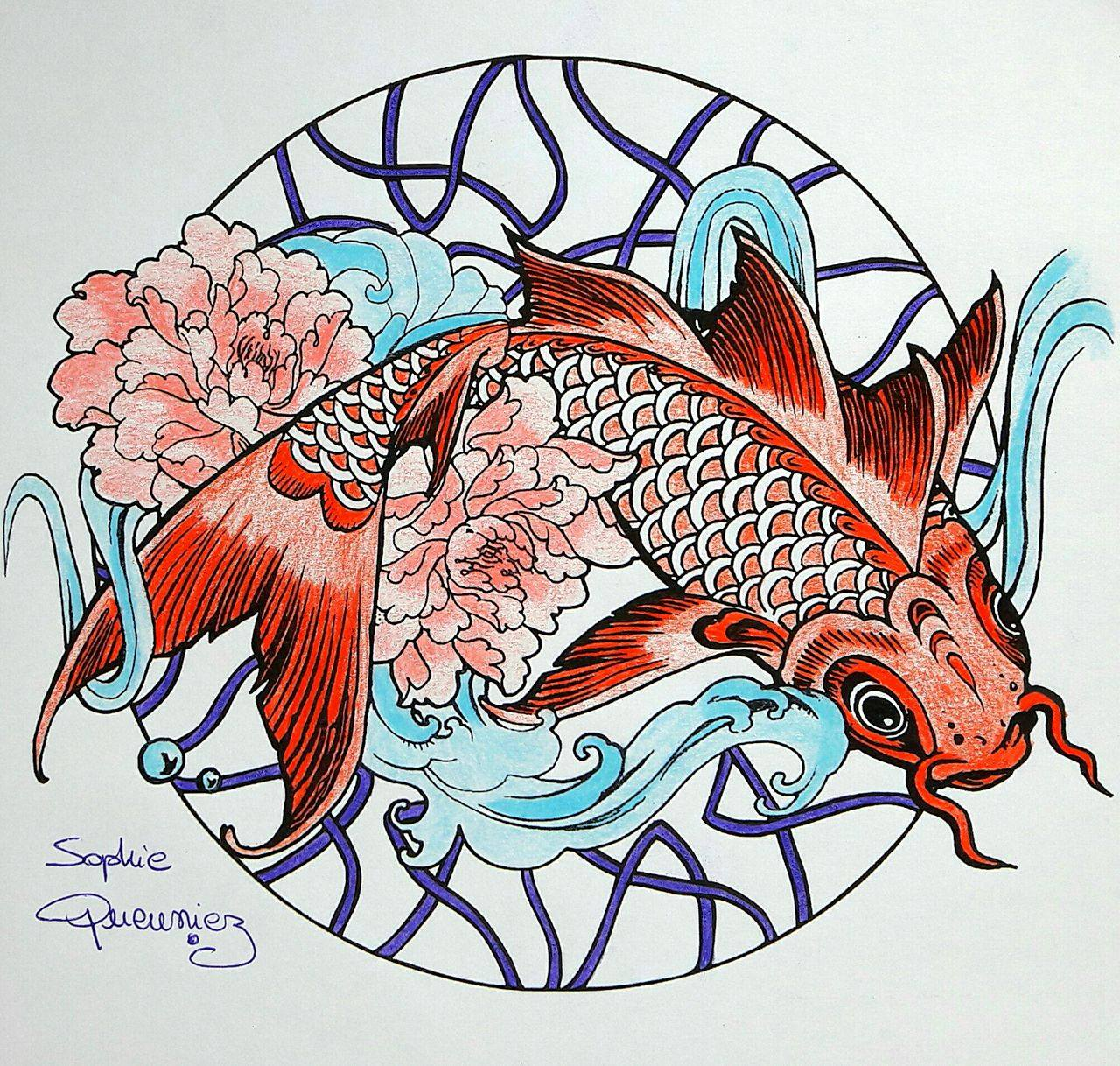 Coloring Tutorial Carp Mandala With Colouring Pencils By