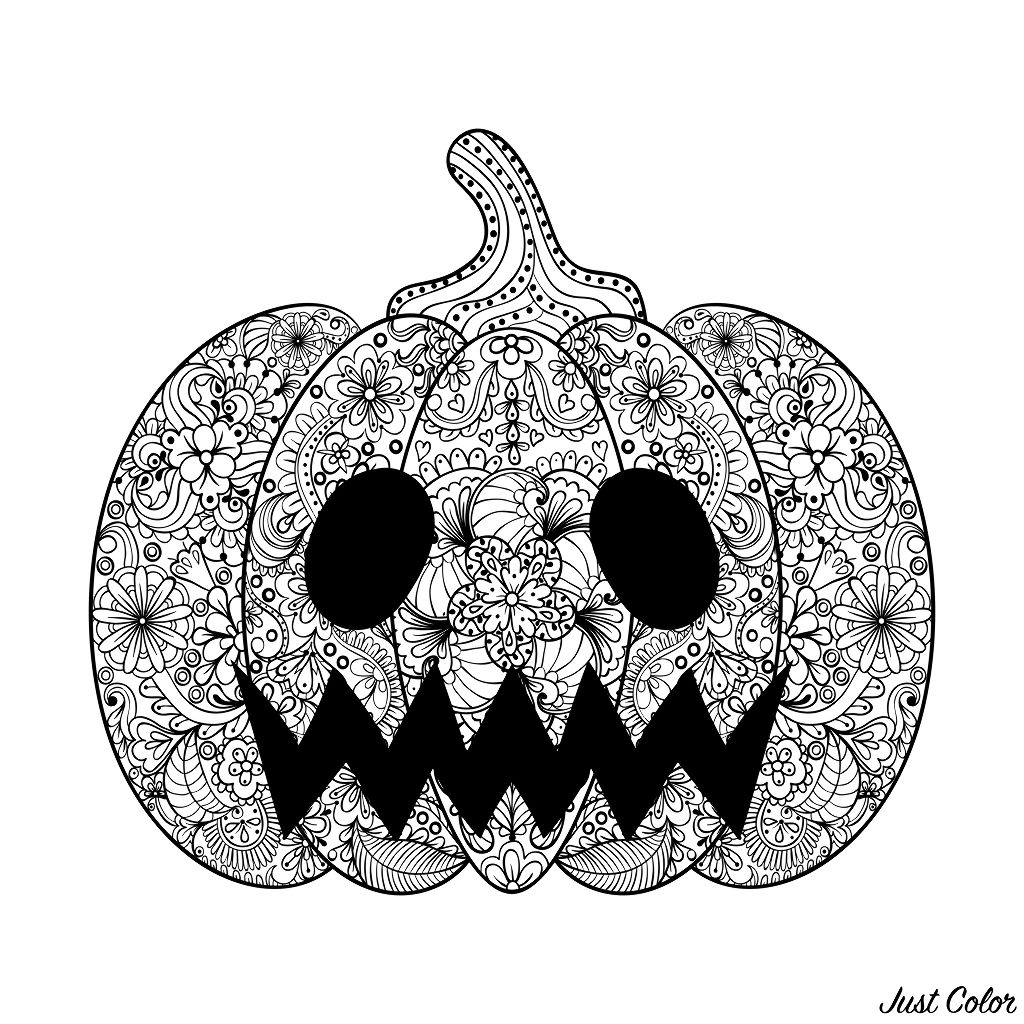 Halloween Scary Pumpkin Halloween Adult Coloring Pages