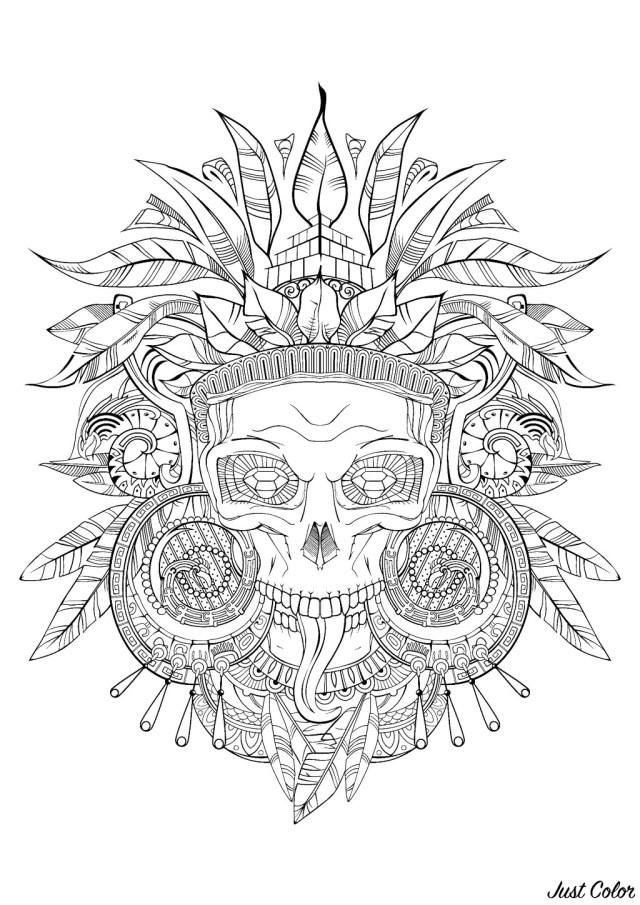 Aztec skull black white - Mayans & Incas Adult Coloring Pages