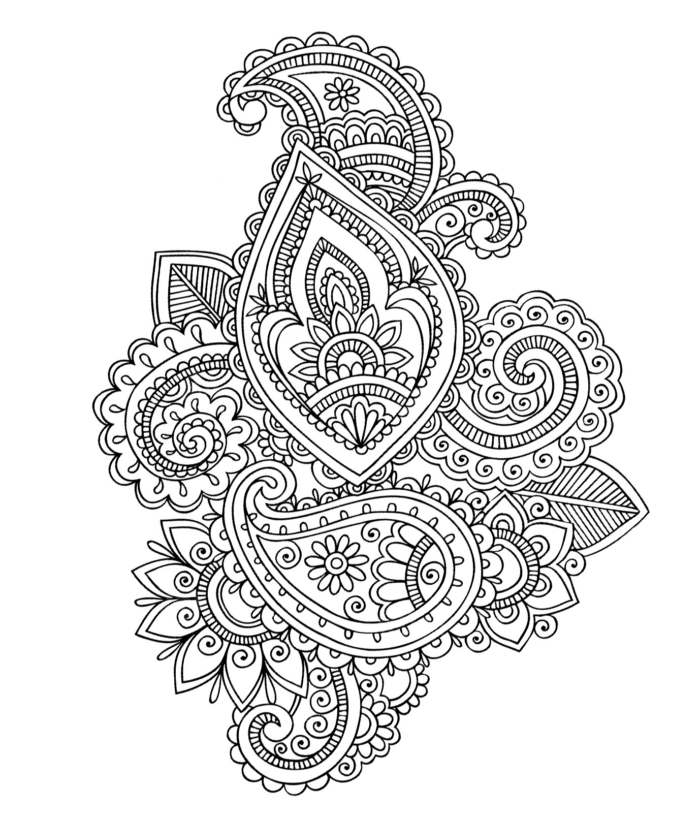 Paisley Cashemire Oriental Coloring Pages For Adults Justcolor