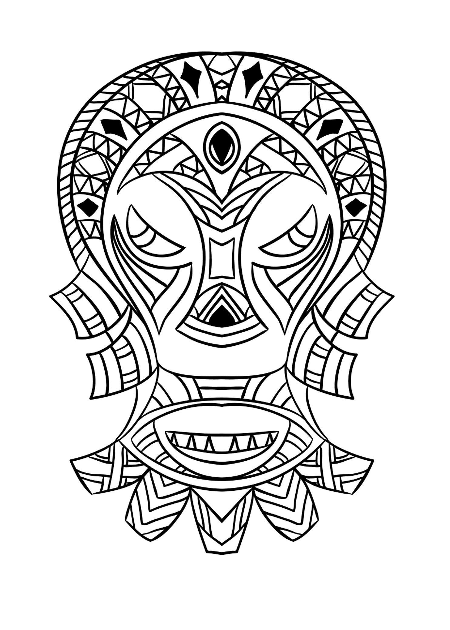 African Mask 4 Africa Adult Coloring Pages
