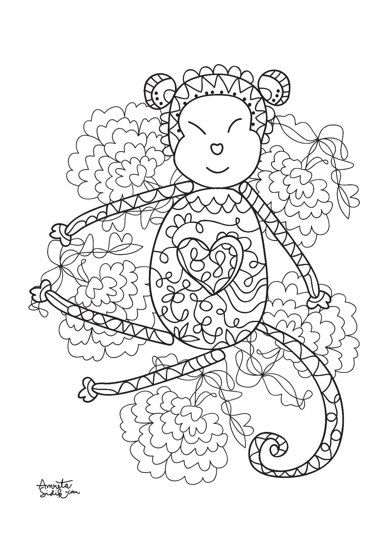 Year Of The Monkey 4 Zen And Anti Stress Coloring Pages For