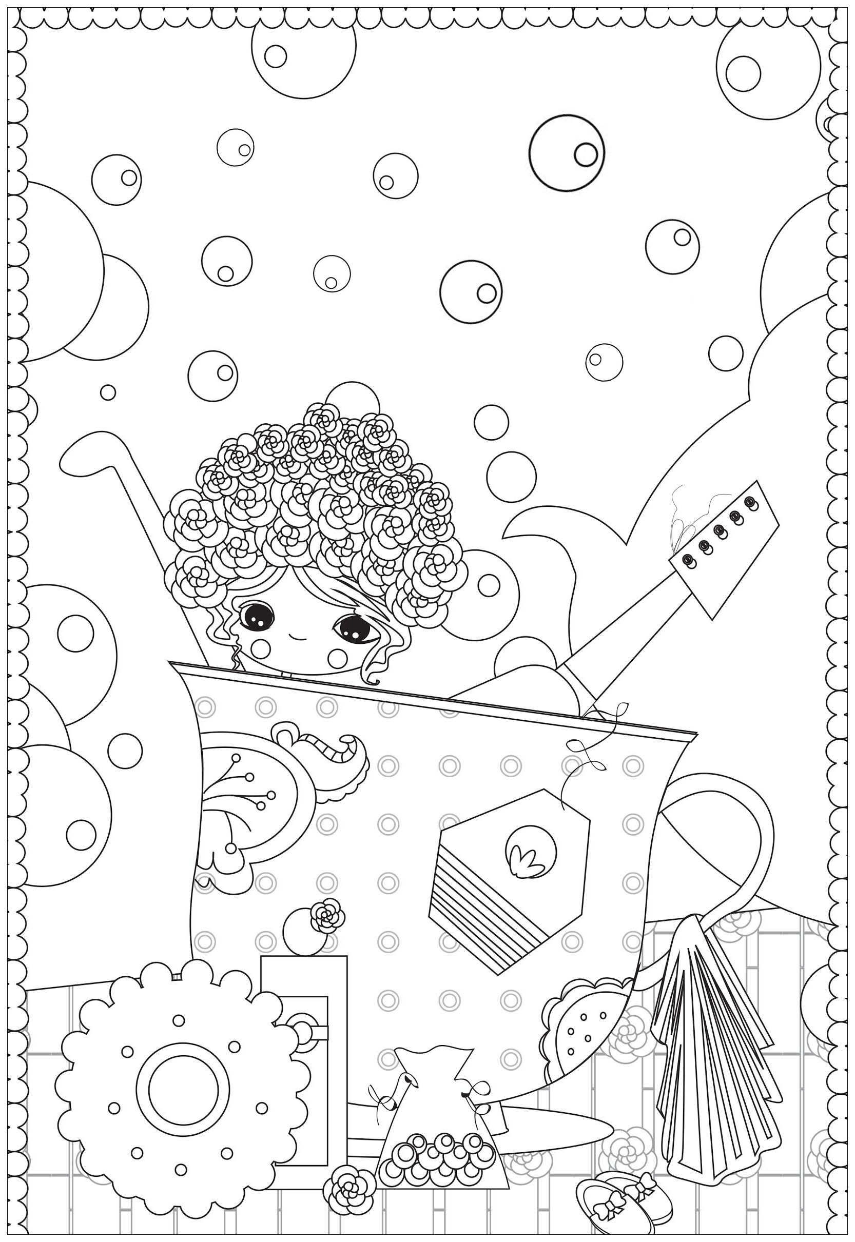 Bath Cup Of Tea Anti Stress Adult Coloring Pages
