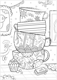 Cups - Anti stress Adult Coloring Pages