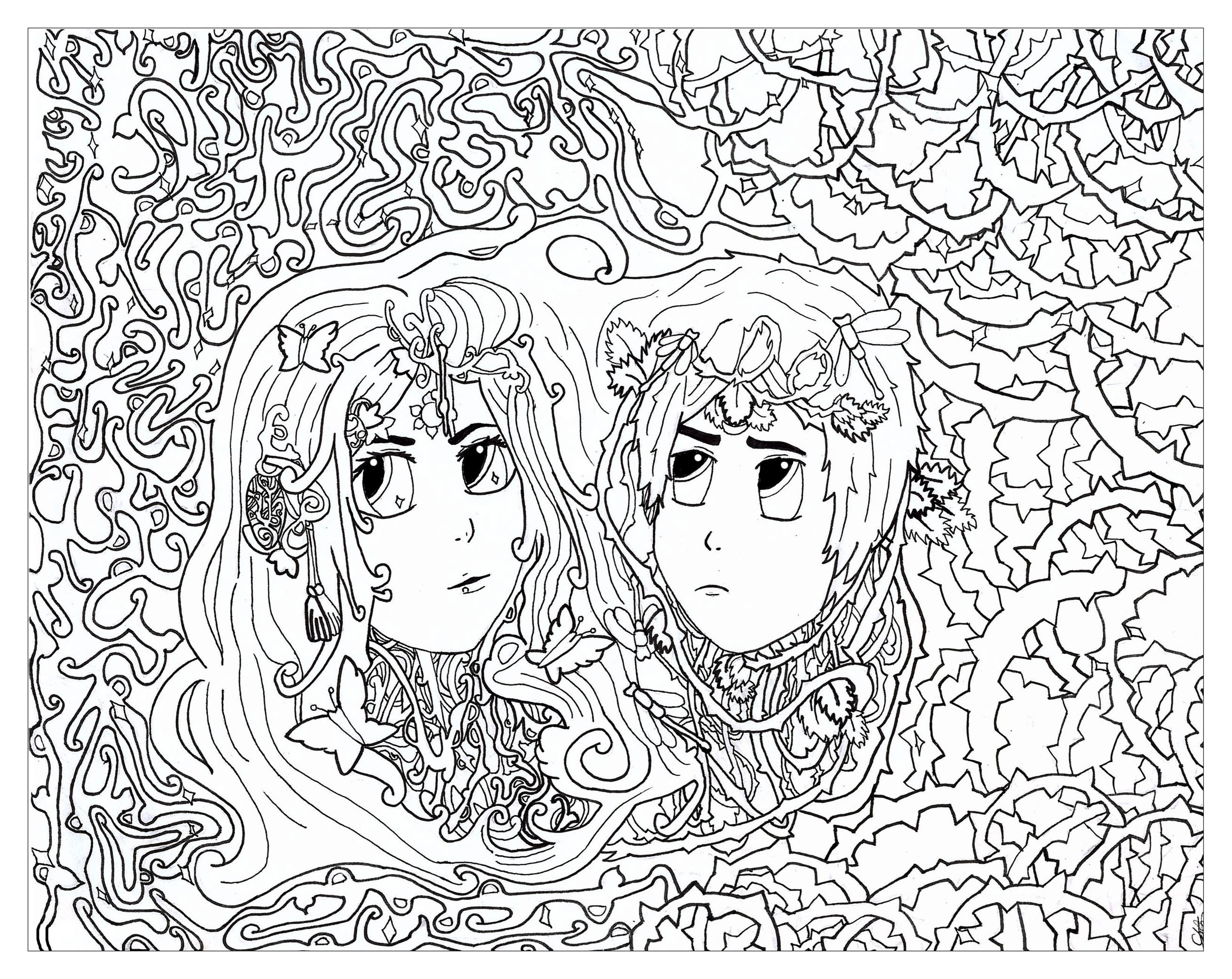 Gemini For Chloe02 Zen And Anti Stress Coloring Pages For
