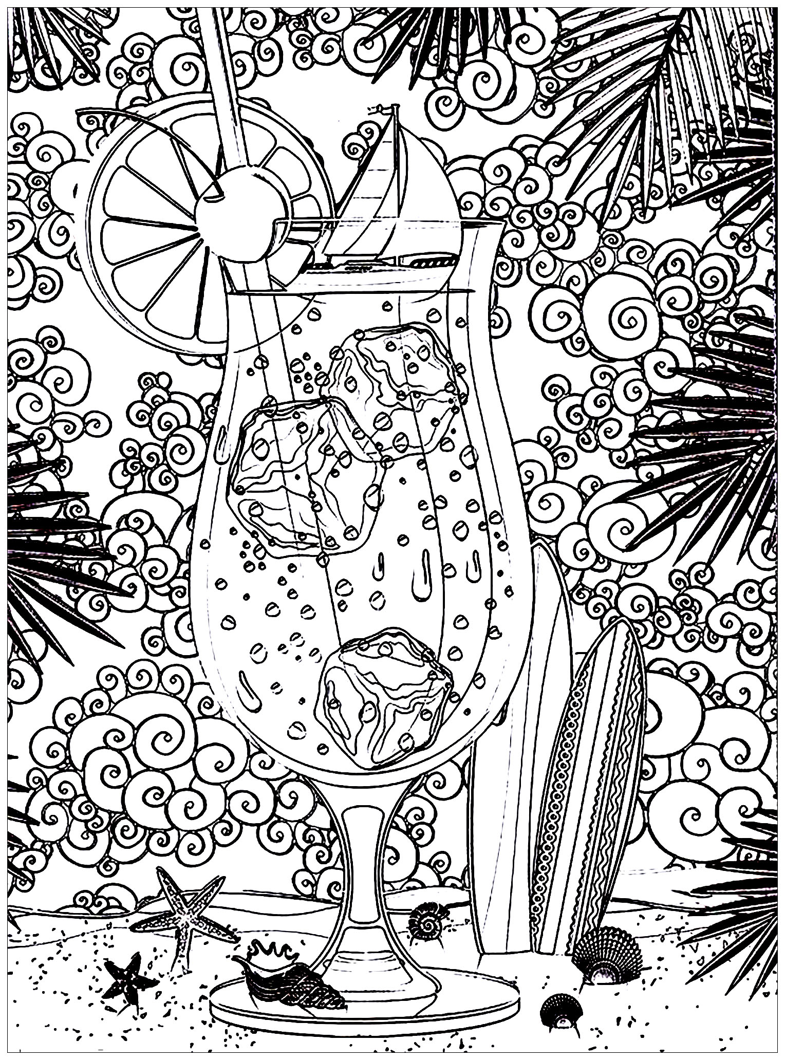 Cocktail At The Sun Zen And Anti Stress Coloring Pages For