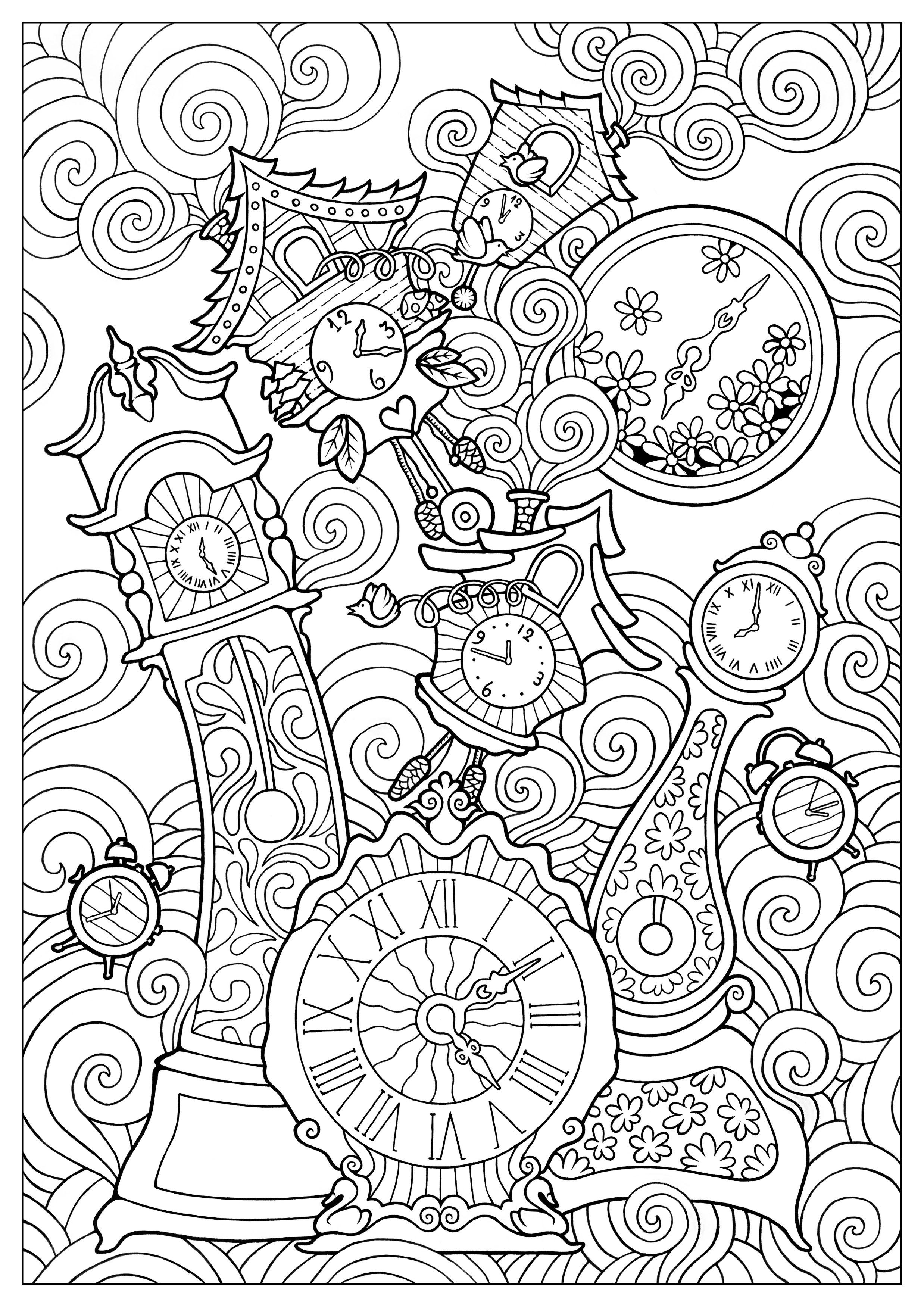 Quirky clocks konstantinos liaramantzas  Anti stress Adult Coloring Pages