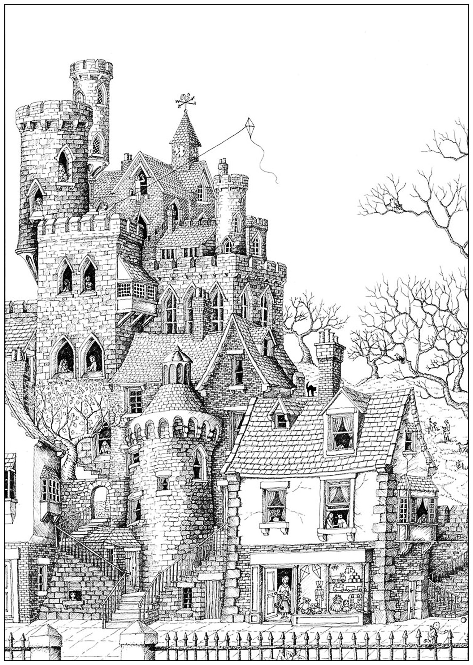 Castle in a village  Architecture Adult Coloring Pages
