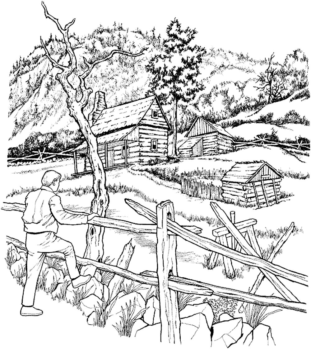 Snowy Cabins Architecture And Living Coloring Pages For Adults