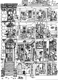 Architecture drawing life in a building - Architecture ...