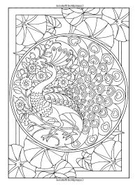 Art nouveau style peacock - Art Nouveau Adult Coloring Pages