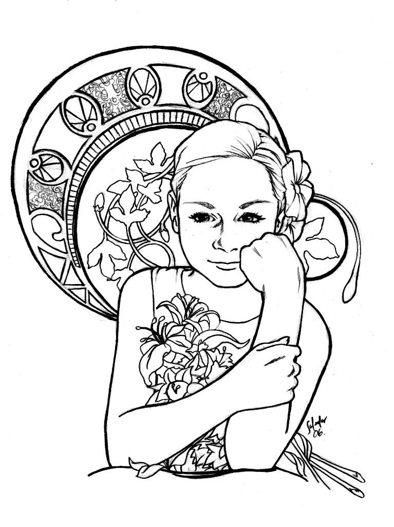 Inspiration art nouveau  Art Nouveau Adult Coloring Pages