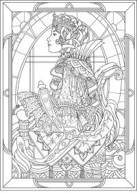 Queen art nouveau style - Art Nouveau Adult Coloring Pages