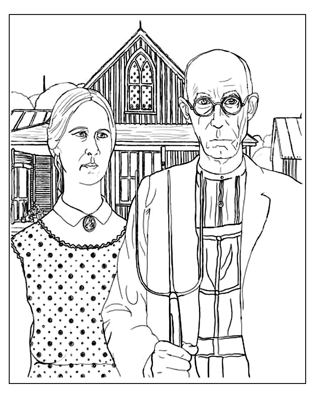 Grant Wood American Gothic Masterpieces Coloring Pages For