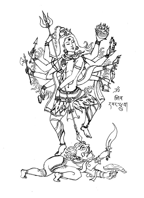 Shiva 8 Bras - India Adult Coloring Pages