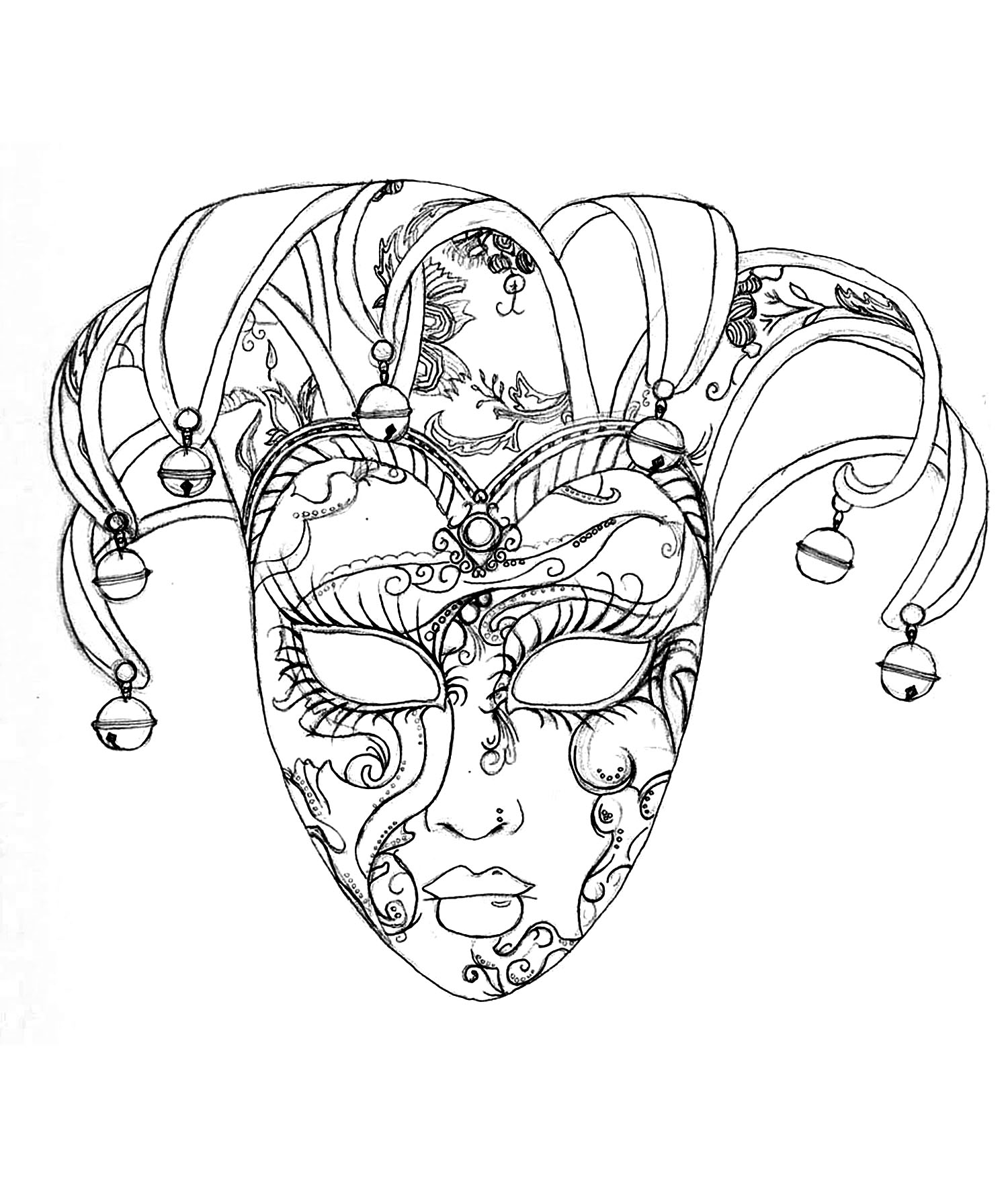 Venice Carnival Mask Carnival Coloring Pages For Adults