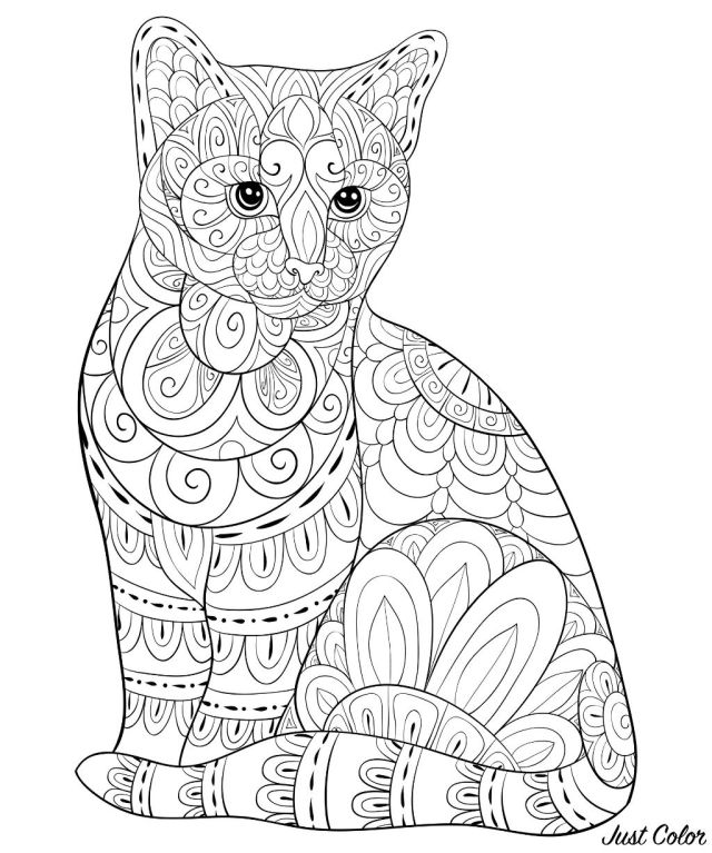 Cute cat with simple Zentangle patterns - Cats Adult Coloring Pages