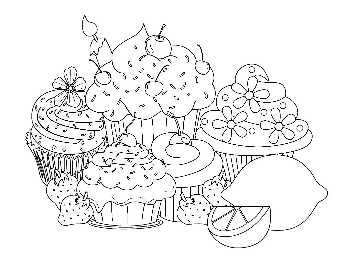 Beautiful Sweet Cupcake Pages Cupcakes And Cakes Coloring