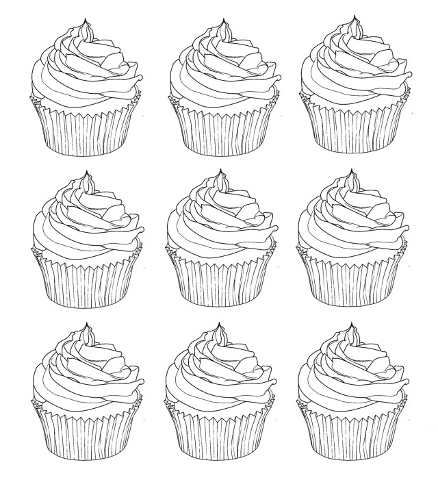 Cupcakes warhol - Cupcakes Adult Coloring Pages