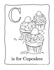 C for Cupcakes Cupcakes Adult Coloring Pages