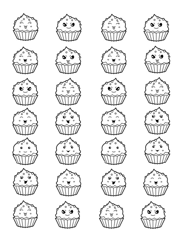 Kawai cup cakes - Cupcakes Adult Coloring Pages