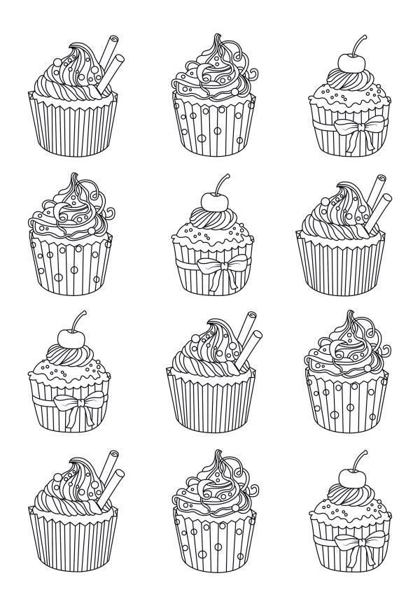 cupcakes coloring pages # 7