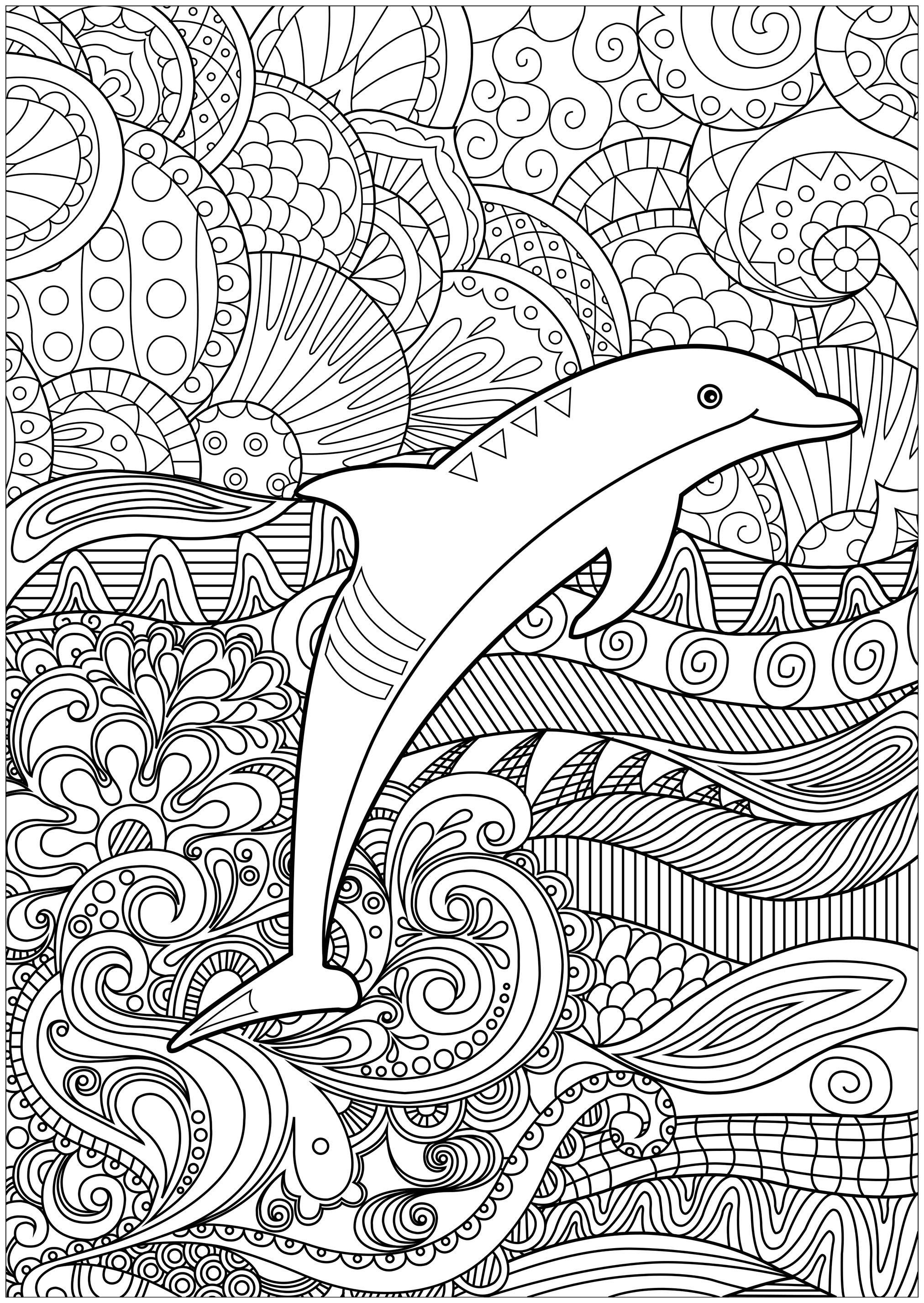 Dolphin With Psychedelic Background