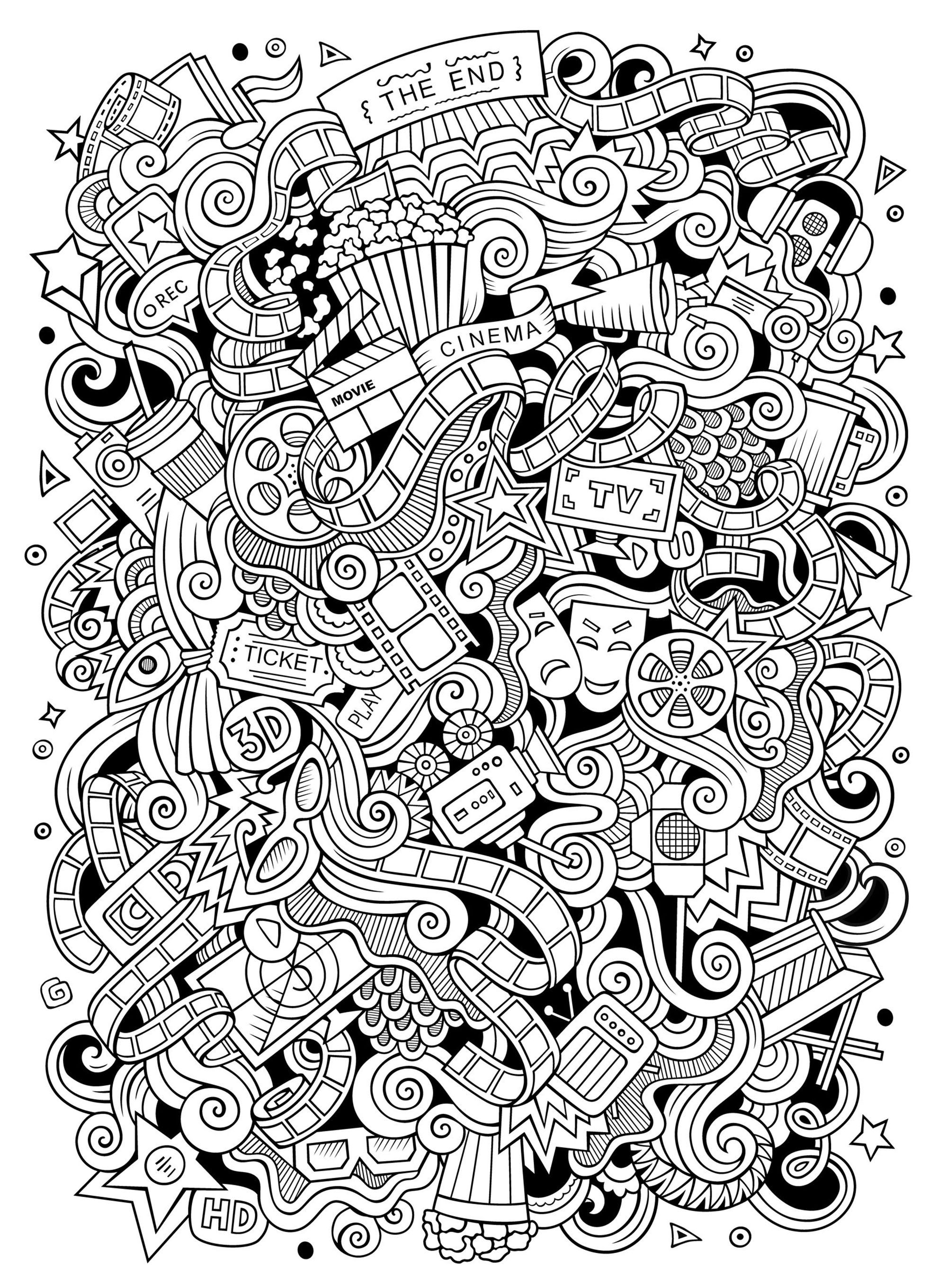 Cinema Doodle Doodle Art Doodling Adult Coloring Pages