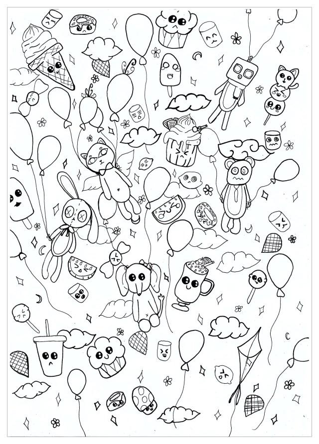Kawaii doodle - Doodle Art / Doodling Adult Coloring Pages