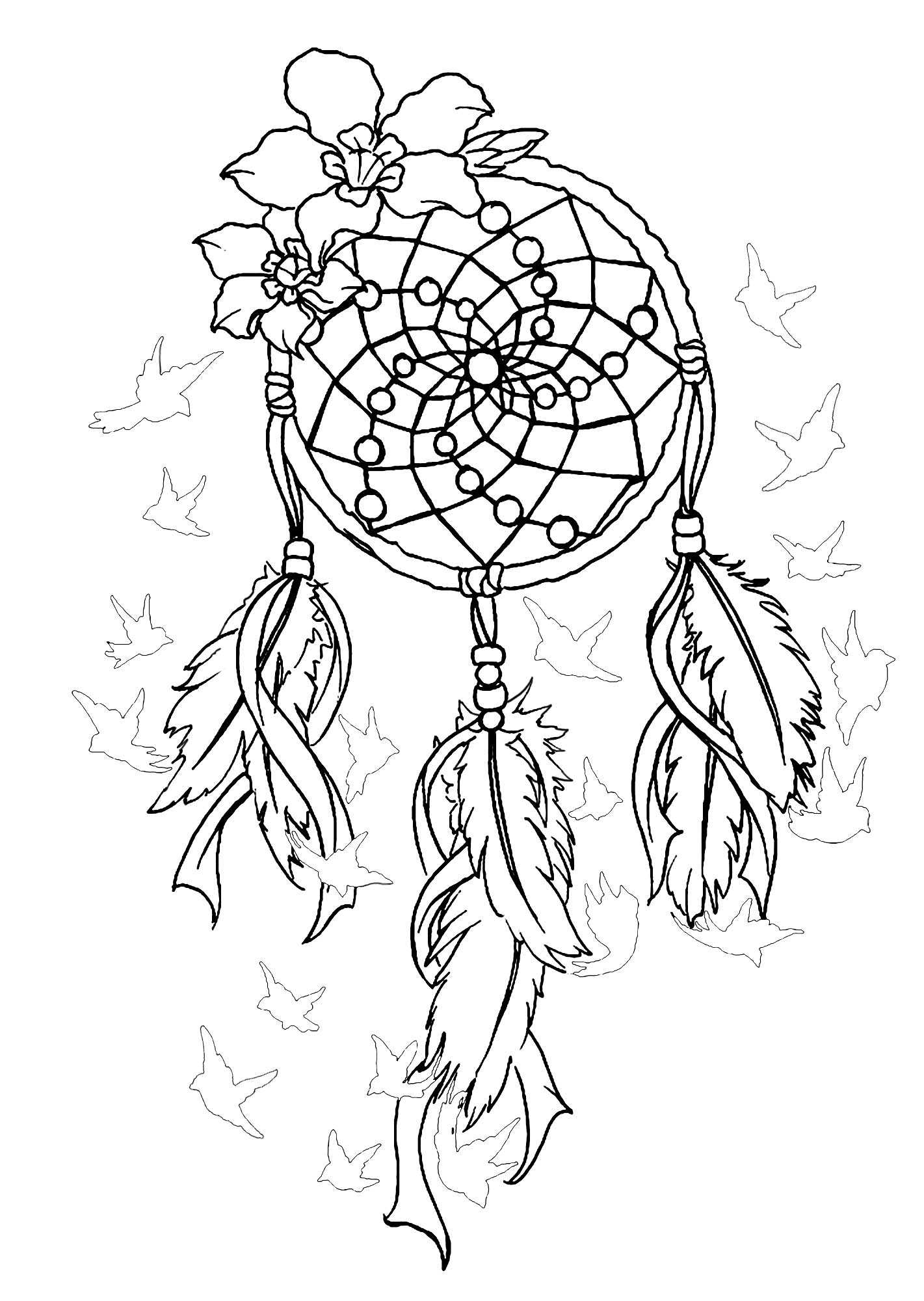 image about Printable Adult Coloring Pages Dream Catchers titled √ Grownup Coloring Webpages Dreamcatcher Desire Catcher Grownup