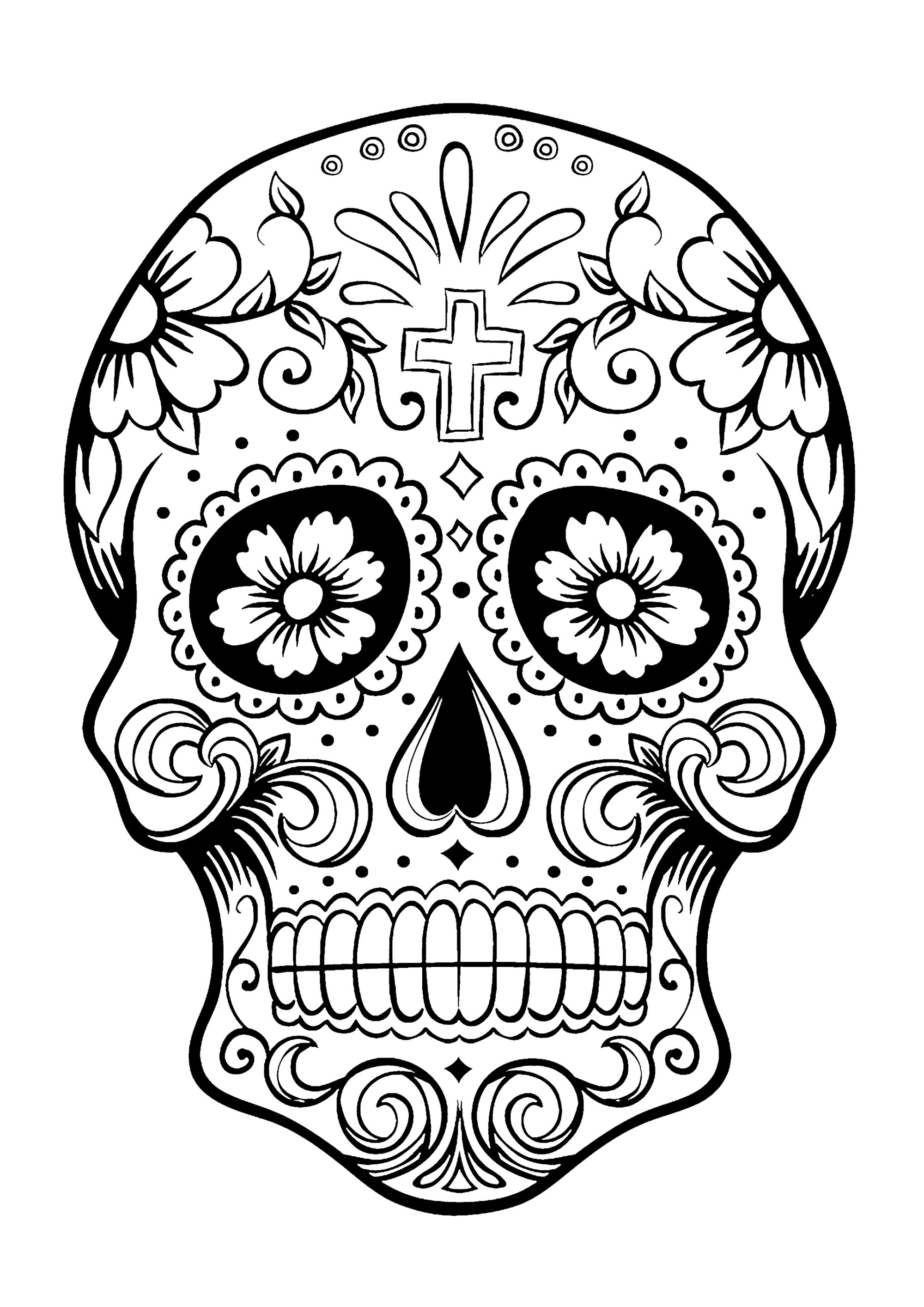 Day Of The Dead Dia De Los Muertos Sugar Skull Coloring Pages Colouring  Adult Detailed – Cute766