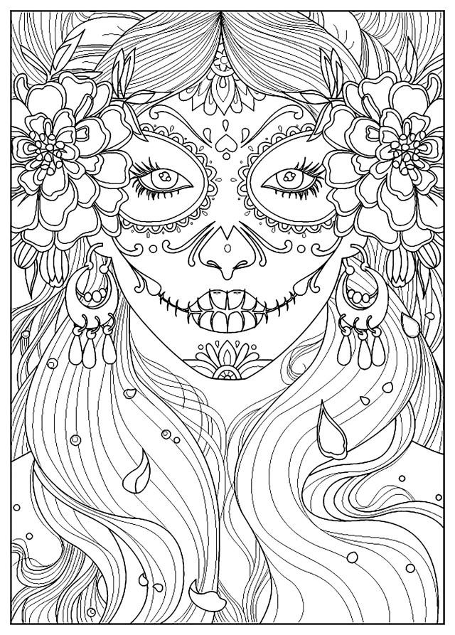 Day of the dead - El Dia de los Muertos Adult Coloring Pages