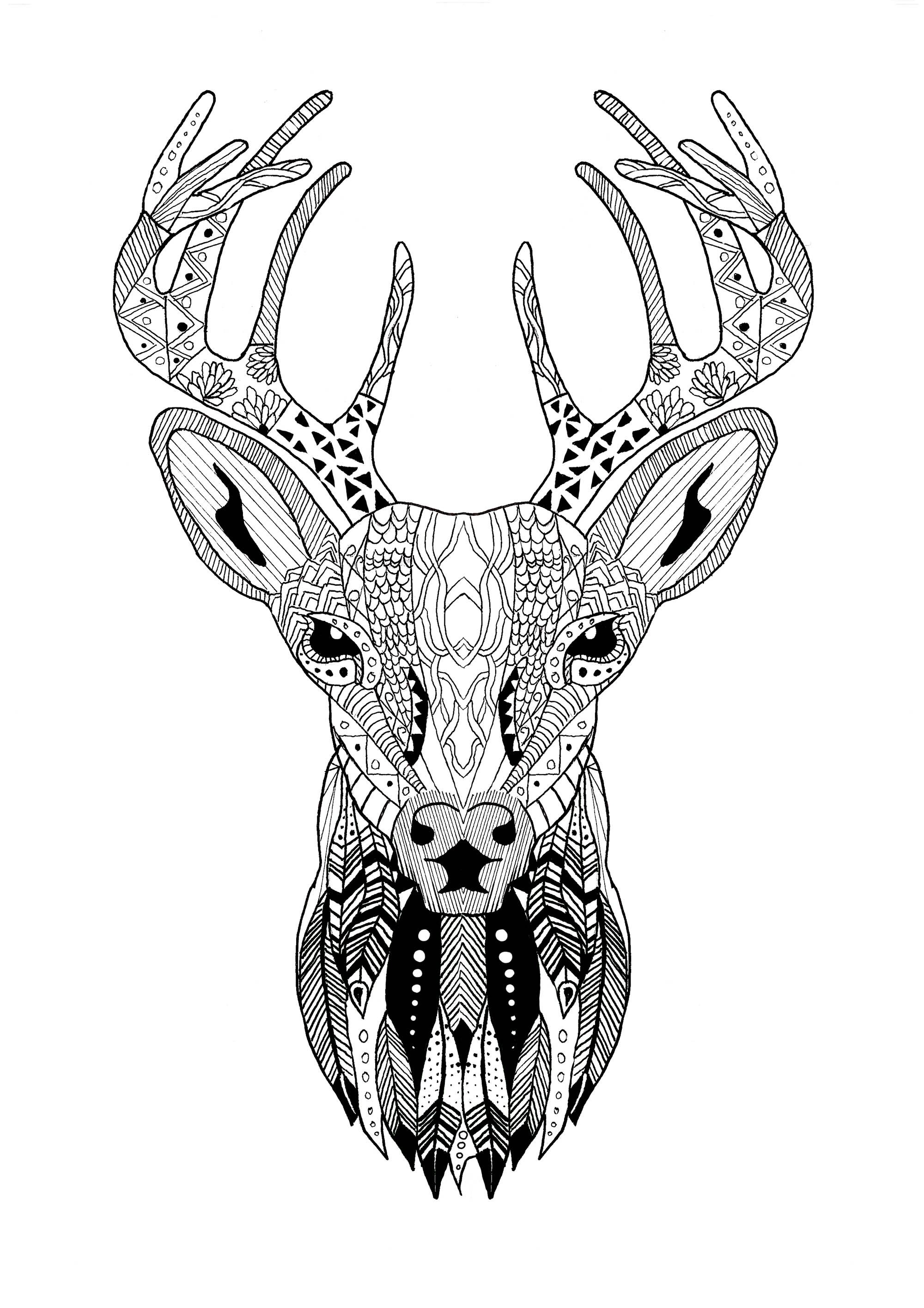 Zentangle Reindeer Christmas Christmas Coloring Pages For