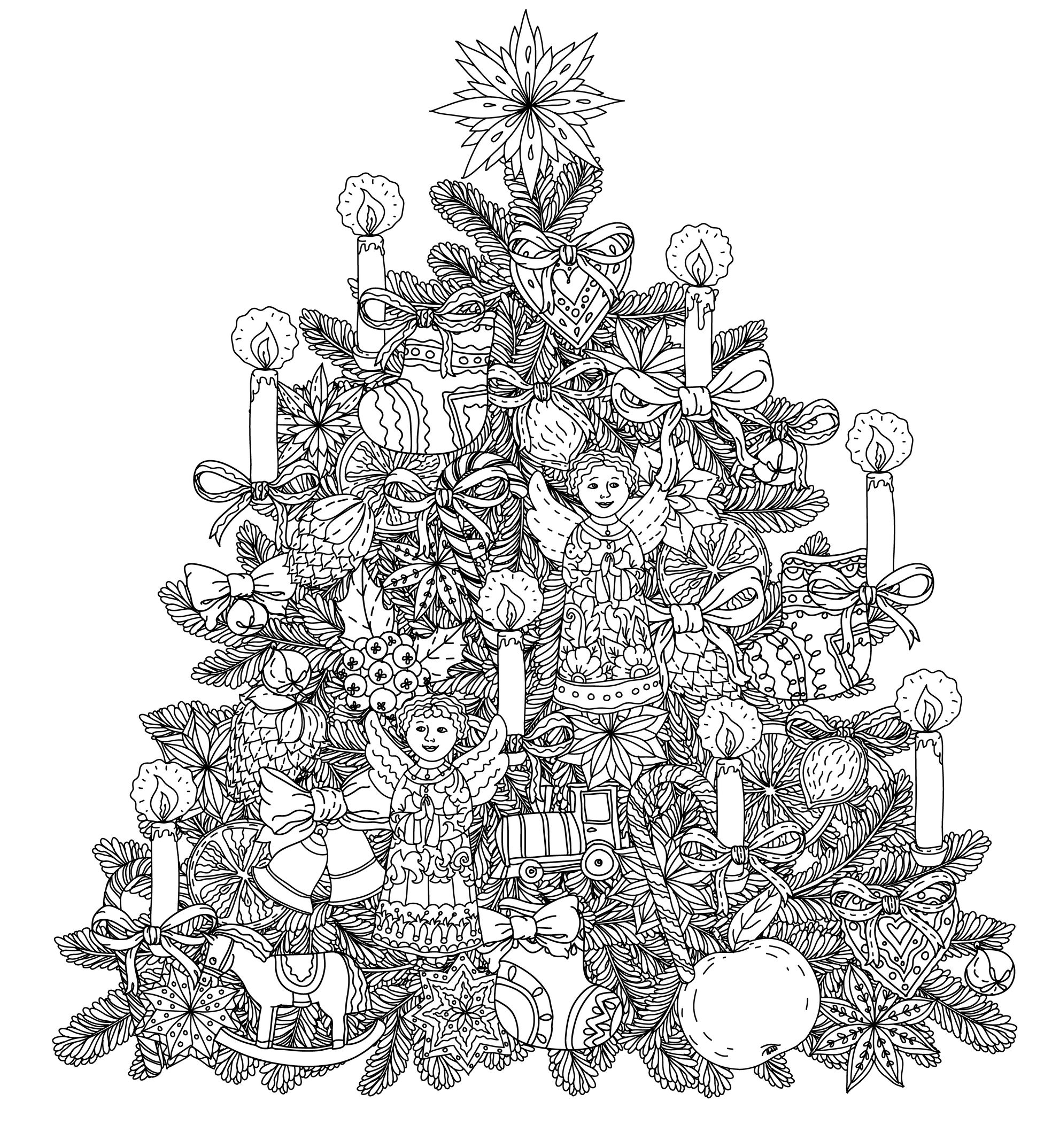 Tree - Coloring Pages for Adults | christmas tree coloring pages for adults