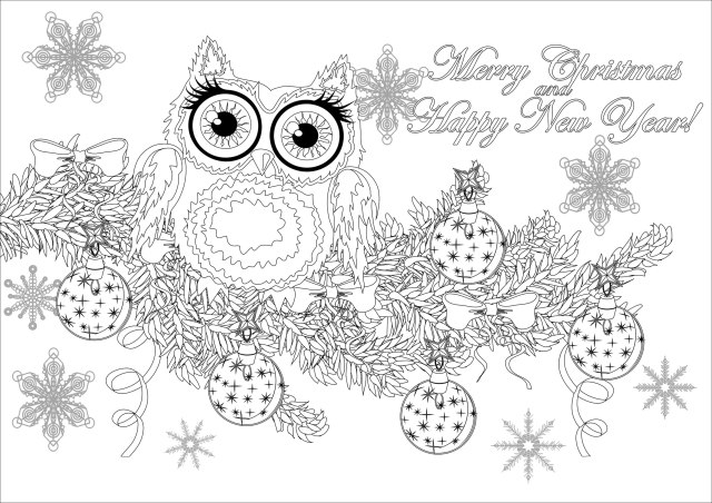 Christmas owl on a branch with text - Christmas Adult Coloring Pages