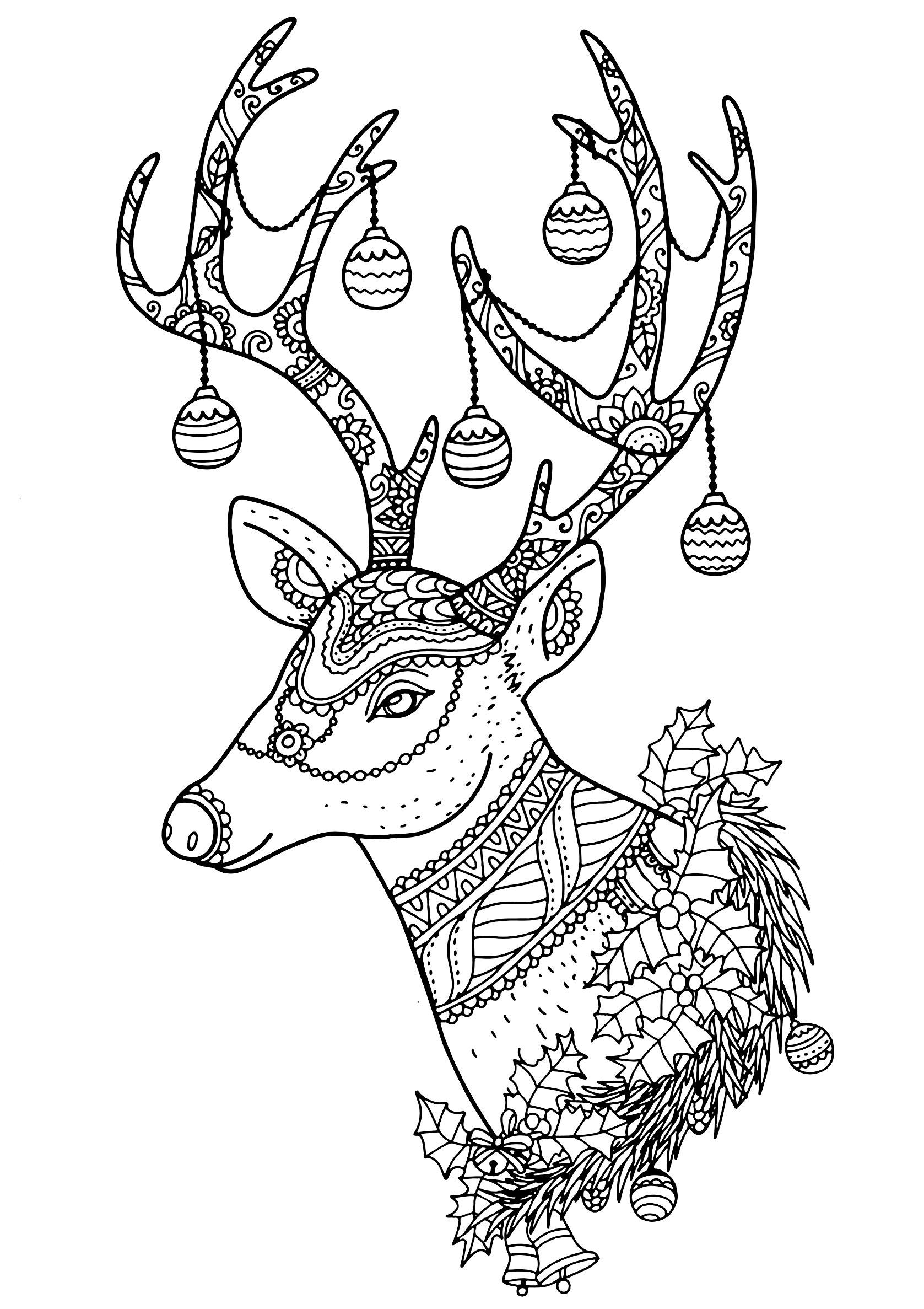 Christmas Reindeer Nontachai Hengtragool Christmas Coloring
