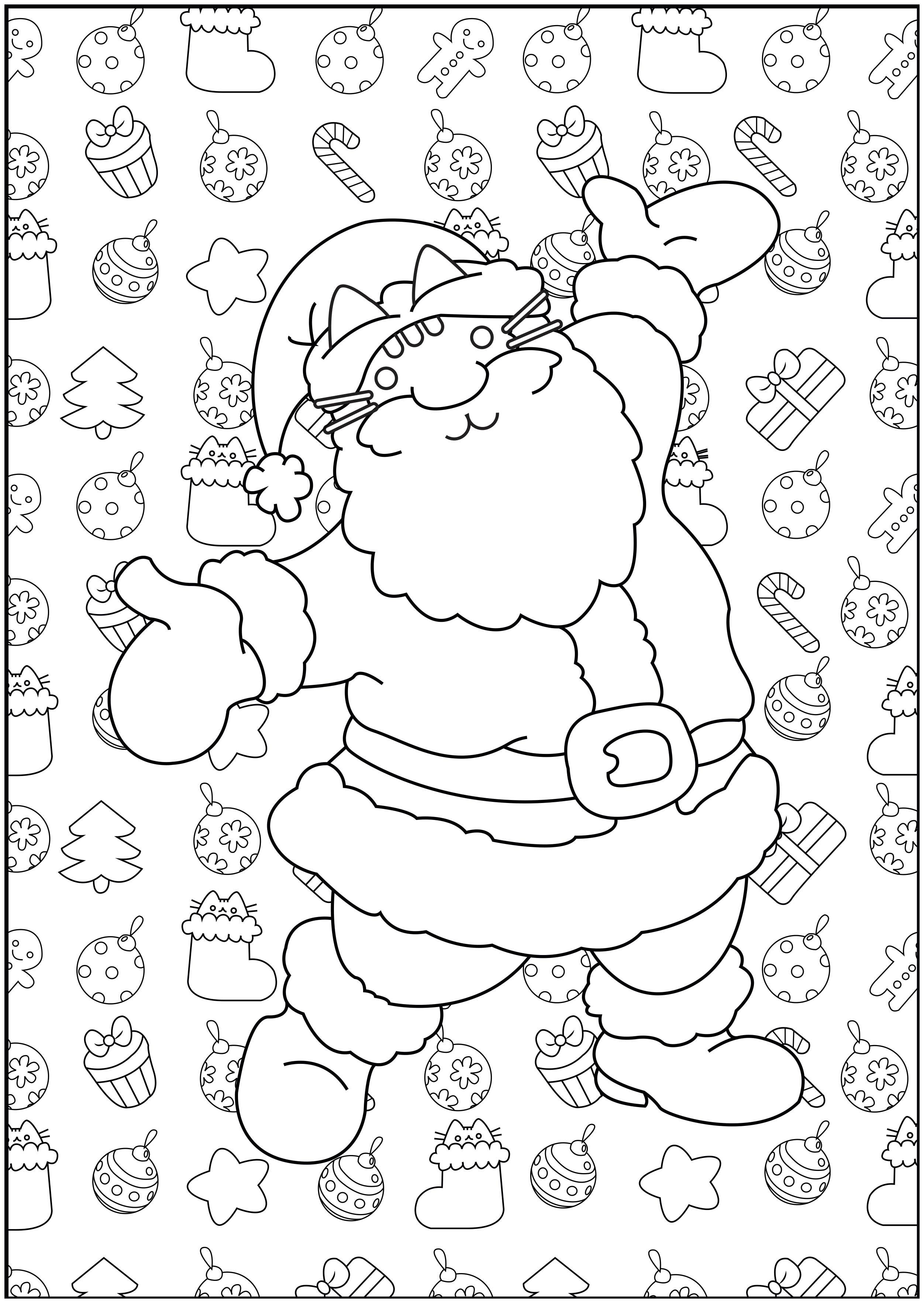 Pusheen De Noel Christmas Adult Coloring Pages