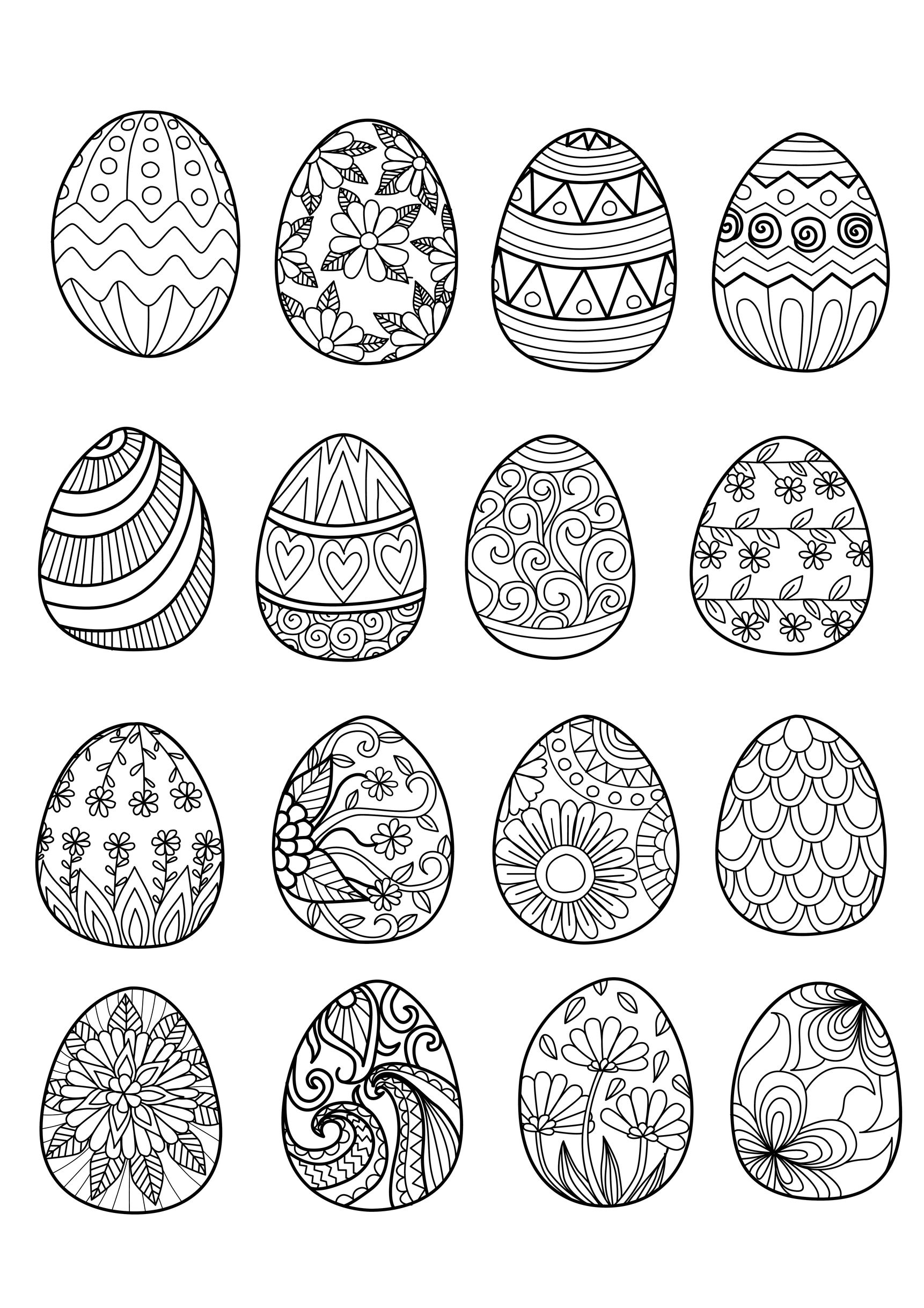 Easter Eggs Easter Adult Coloring Pages