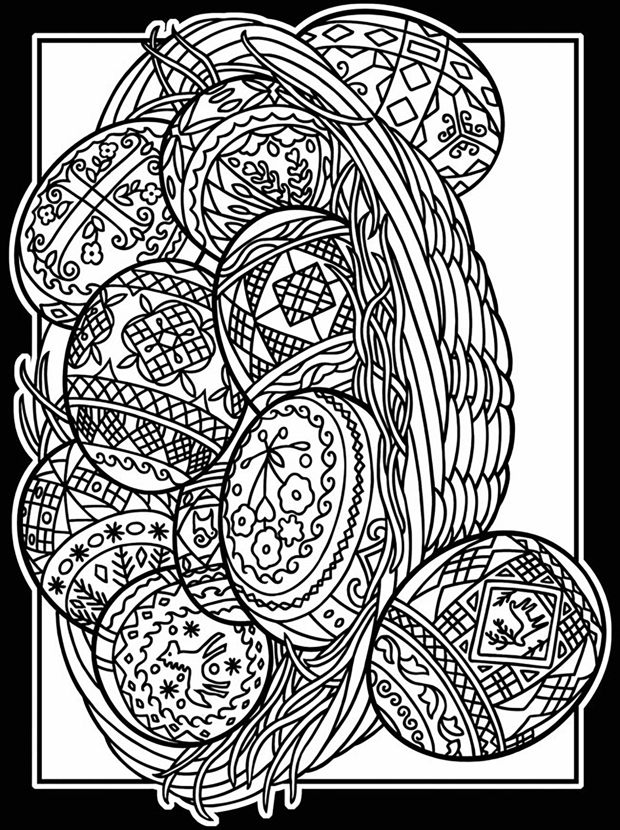 Easter eggs to print and color - Easter Adult Coloring Pages   free printable easter egg coloring pages for adults