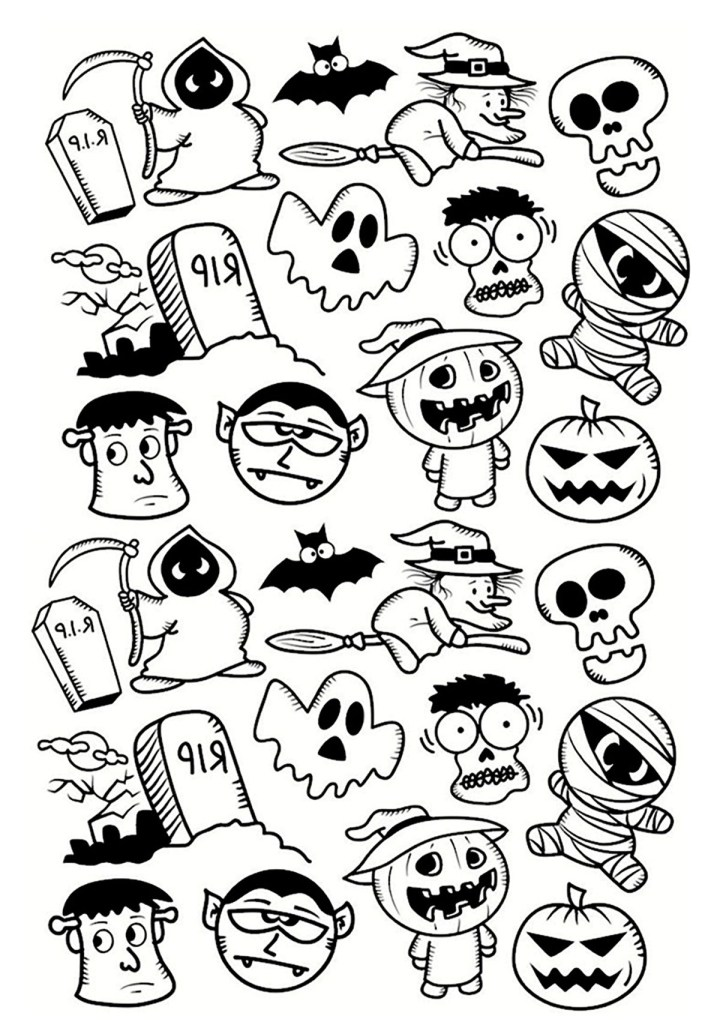doodle characters to print color halloween doodle characters coloring pages