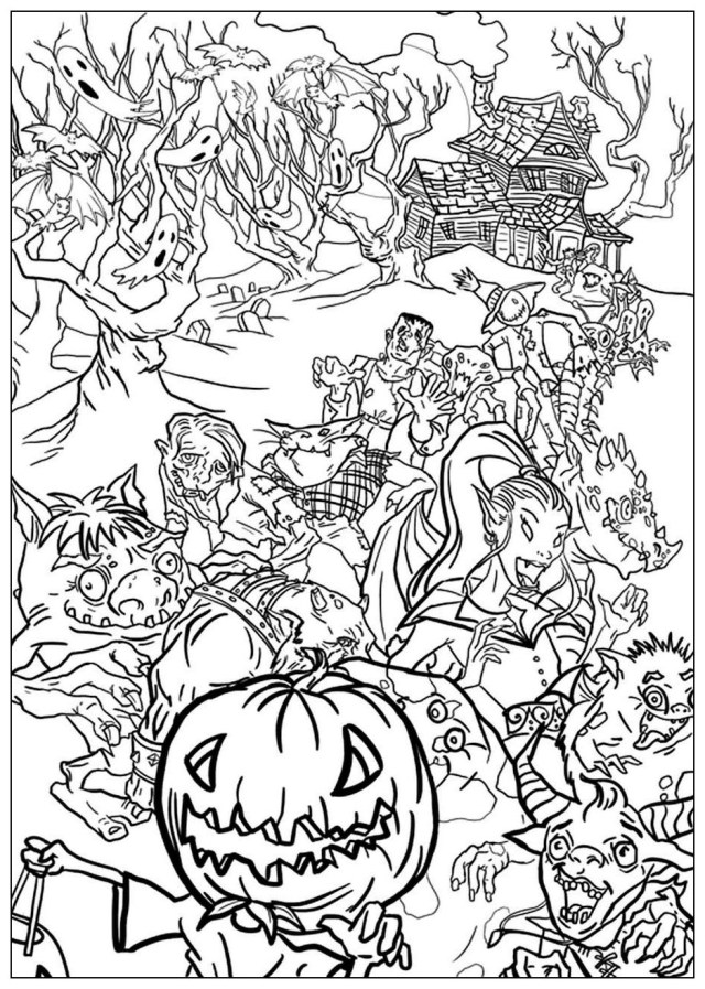 Halloween monsters - Halloween Adult Coloring Pages