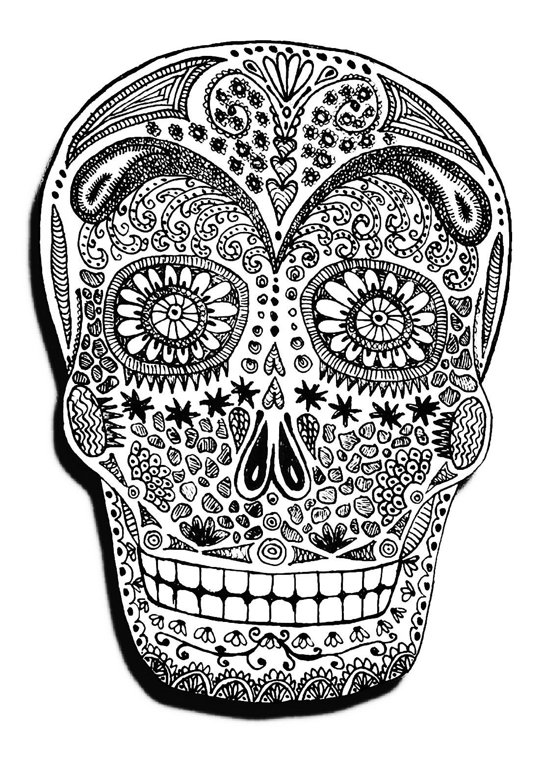 Halloween Skeleton Head Halloween Adult Coloring Pages