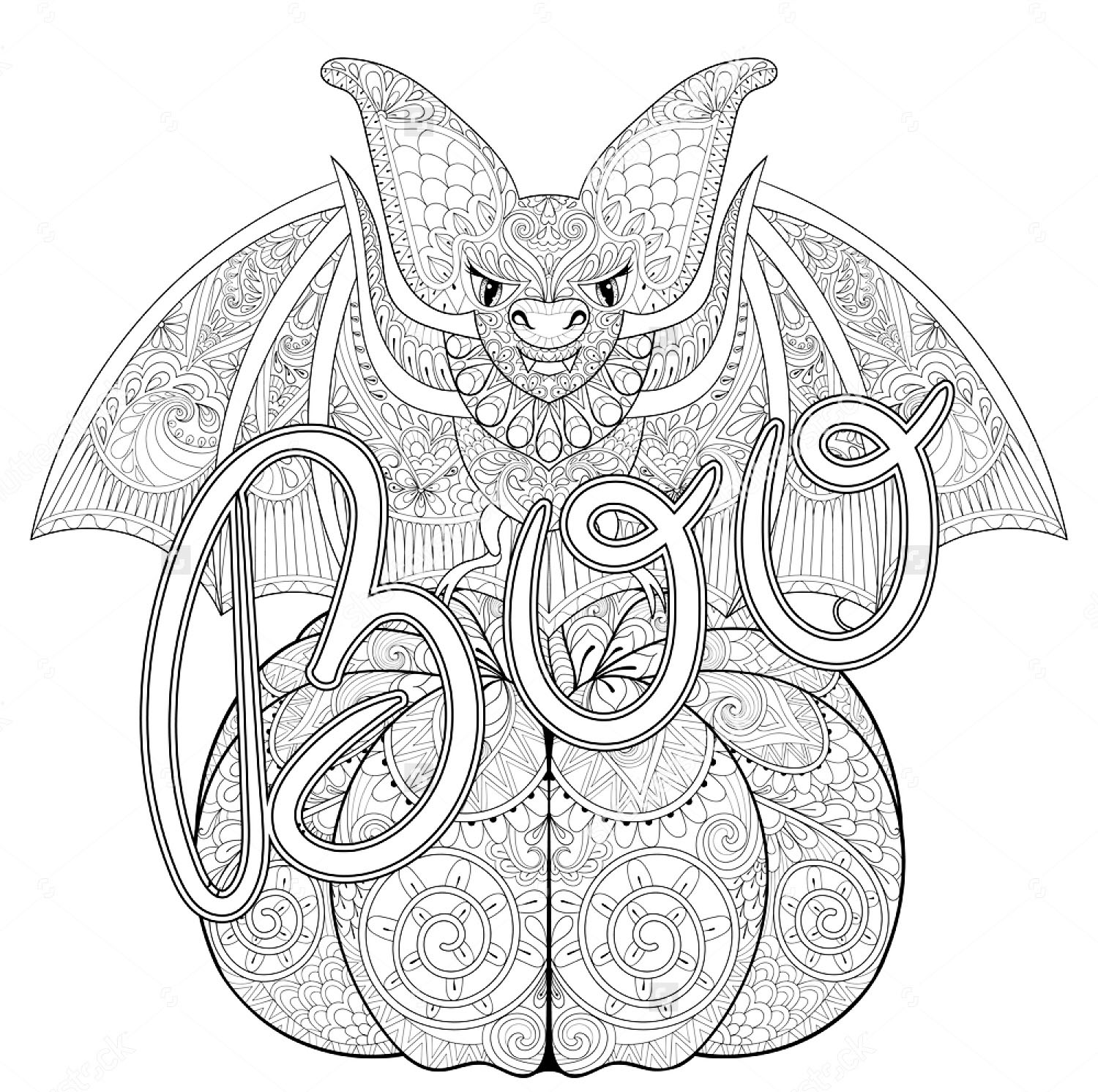 Halloween Zentangle Bat