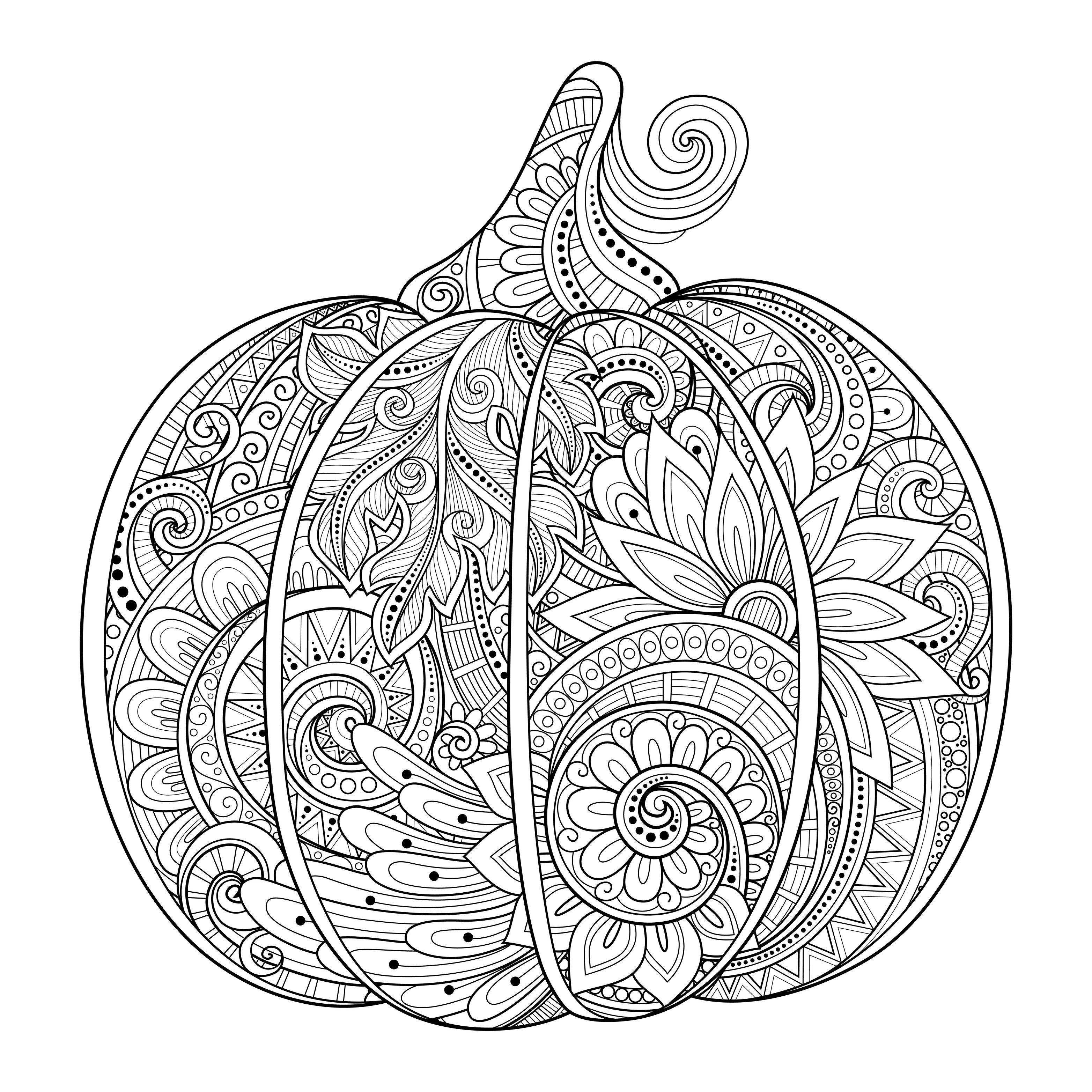 Beautiful Halloween Pumpkin Zentangle Irinarivoruchko