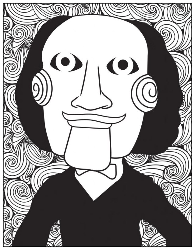 Horror jigsaw billy the puppet - Halloween Adult Coloring Pages