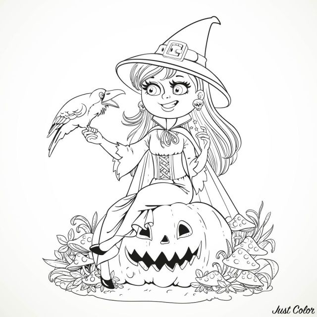 Halloween smiling witch and crow - Halloween Adult Coloring Pages