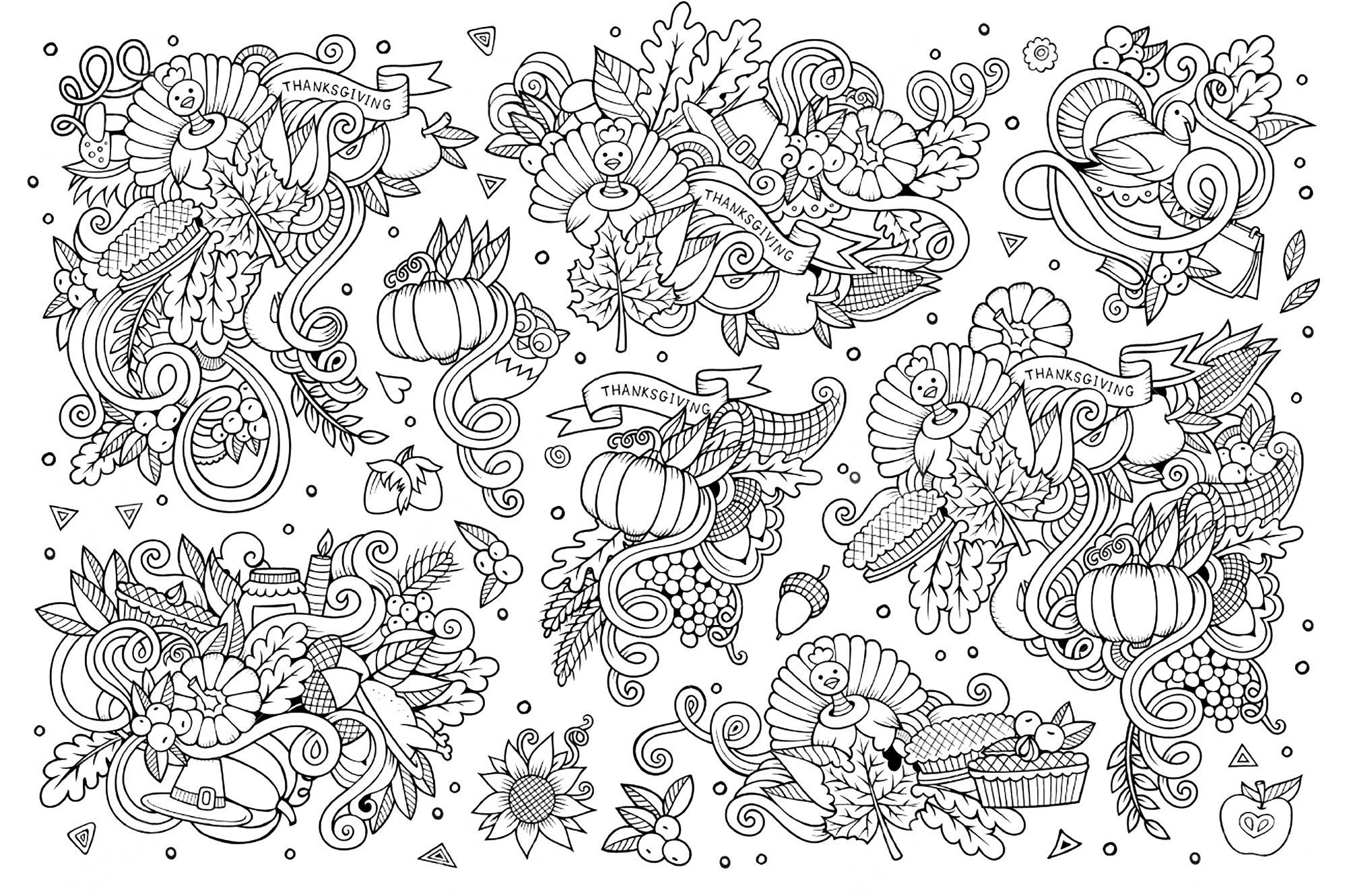 Sketchy Vector Hand Drawn Doodle Cartoon Set Of